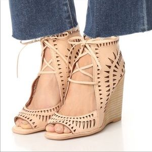 Jeffrey Campbell Rodillo Laser Cut Lace Up Wedges